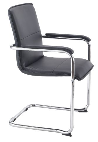 Turino Black Leather Conference Chair Angle View