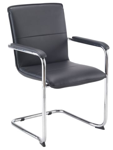 Turino Black Leather Conference Chair Front Angle