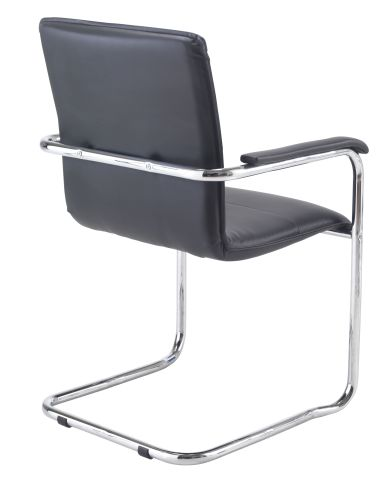 Turino Black Leather Conference Chair Rear Angle View