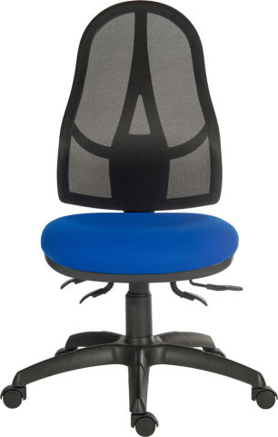 Ergo Star Mesh Chair With Out Arms And A Blue Seat Front View