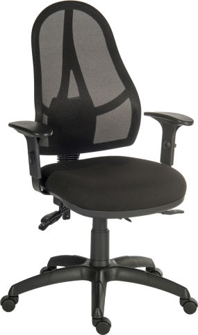 Ergo Str Mesh Chair With Height Adjustable Arms And A Black Fabric Seat
