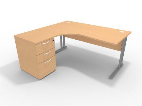 Optimize 1600mm Left Hand Desk With High Pedestal