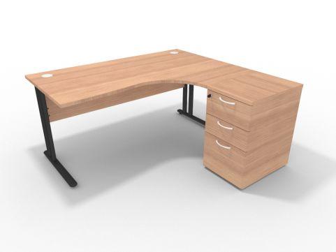 Right 1600mm Corner Desk Natural Cherrywood With Desk High Pedesal