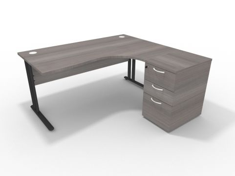 Right Hand 1600mm Corner Desk Cedar With Desk High Pedestal