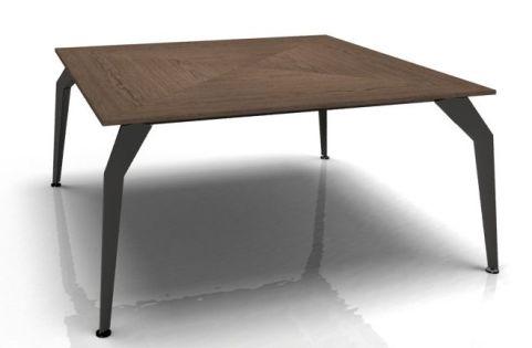 Octavia Executive Square Desk - Walnut Glossy Legs