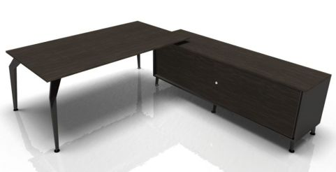 Octavian Ebony Desk With Supporting Credenza