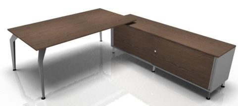 Octavian Walnut Desk And Supporting Credenza