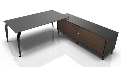 Octavian Rectangular Glass Desk And Credenza
