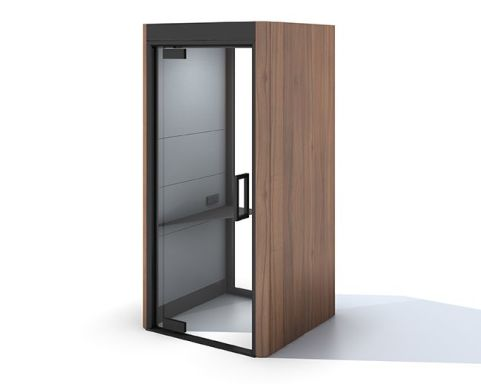 Oasis Linear Phone Booth Walnut Veneer