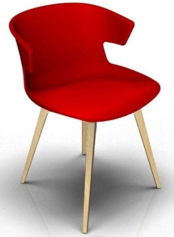 Latium 4 Leg Designer Chair - Red And Beech