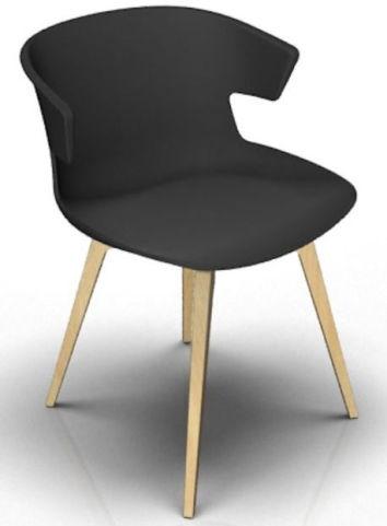 Latium 4 Leg Designer Chair - Anthracite And Beech