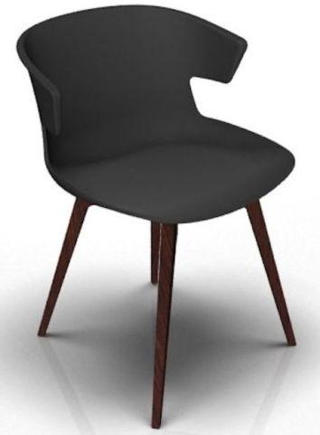 Latium 4 Leg Designer Chair - Anthracite And Wenge