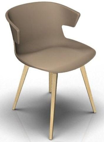 Latium 4 Leg Designer Chair - Beige And Beech