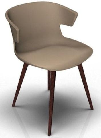 Latium 4 Leg Designer Chair - Beige And Wenge