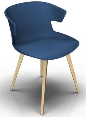 Latium 4 Leg Designer Chair - Blue And Beech