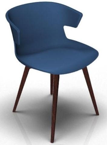 Latium 4 Leg Designer Chair - Blue And Wenge