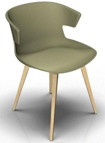 Latium 4 Leg Designer Chair - Green And Beech