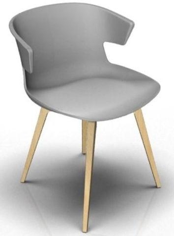 Latium 4 Leg Designer Chair - Grey And Beech