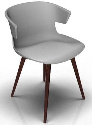 Latium 4 Leg Designer Chair - Grey And Wenge