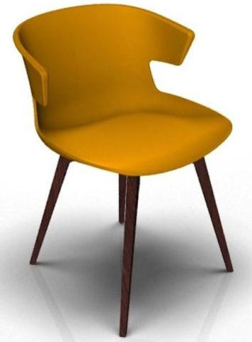 Latium 4 Leg Designer Chair - Orange And Wenge