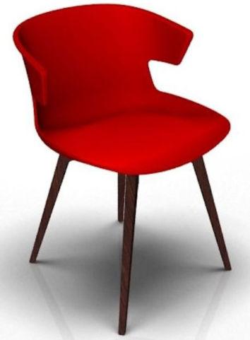 Latium 4 Leg Designer Chair - Red And Wenge
