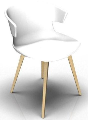 Latium 4 Leg Designer Chair - White And Beech