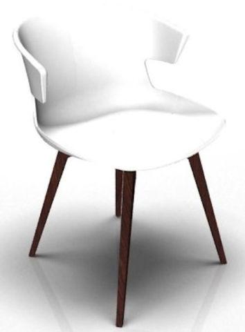 Latium 4 Leg Designer Chair - White And Wenge