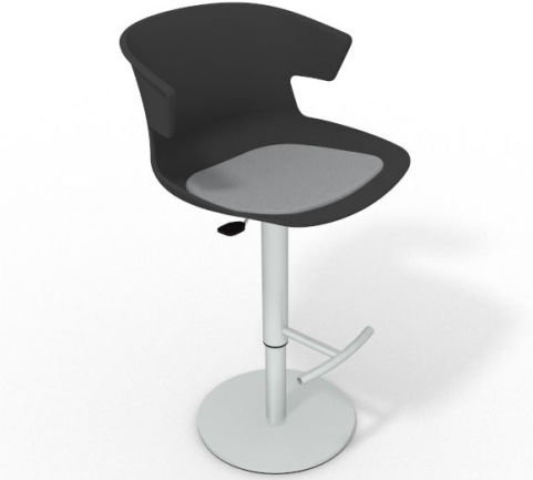 Latium Height Adjustable Swivel Bar Stool - Seat Pad Anthracite Light Grey