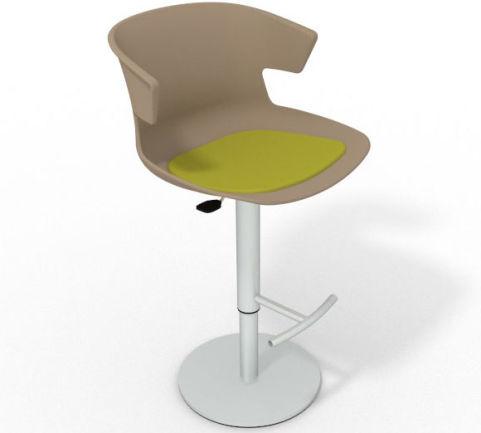 Latium Height Adjustable Swivel Bar Stool - Seat Pad Beige Grass Green