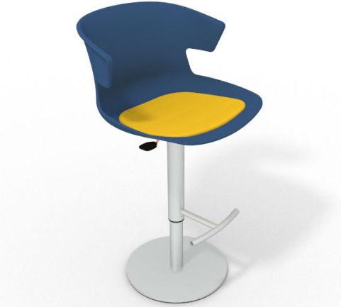 Latium Height Adjustable Swivel Bar Stool - Seat Pad Blue Yellow