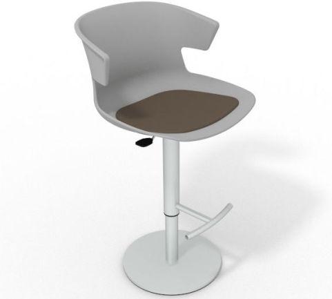 Latium Height Adjustable Swivel Bar Stool - Seat Pad Grey Dark Brown