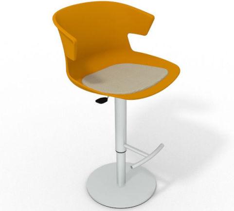 Latium Height Adjustable Swivel Bar Stool - Seat Pad Ochre Beige