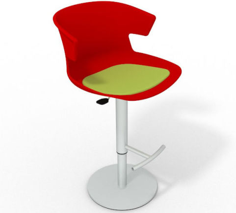 Latium Height Adjustable Swivel Bar Stool - Seat Pad Red Light Green