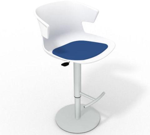 Latium Height Adjustable Swivel Bar Stool - Seat Pad White Blue