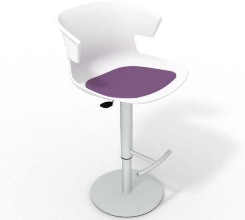 Latium Height Adjustable Swivel Bar Stool - Seat Pad White Violet