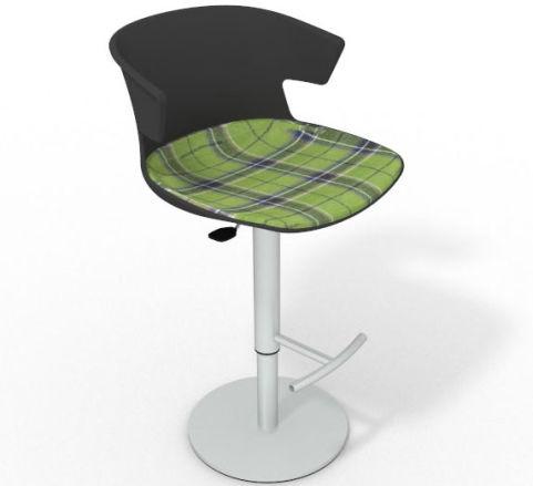 Latium Height Adjustable Swivel Bar Stool - Large Feature Seat Pad Anthracite Green