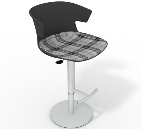 Latium Height Adjustable Swivel Bar Stool - Large Feature Seat Pad Anthracite Grey