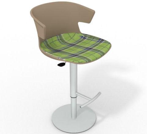 Latium Height Adjustable Swivel Bar Stool - Large Feature Seat Pad Beige Green