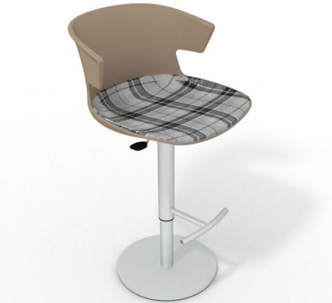 Latium Height Adjustable Swivel Bar Stool - Large Feature Seat Pad Beige Grey