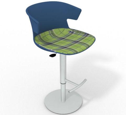 Latium Height Adjustable Swivel Bar Stool - Large Feature Seat Pad Blue Green