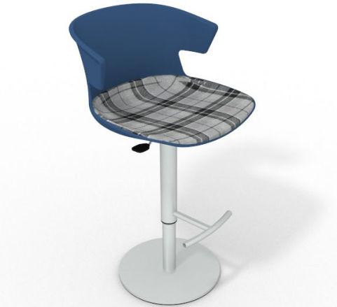 Latium Height Adjustable Swivel Bar Stool - Large Feature Seat Pad Blue Grey