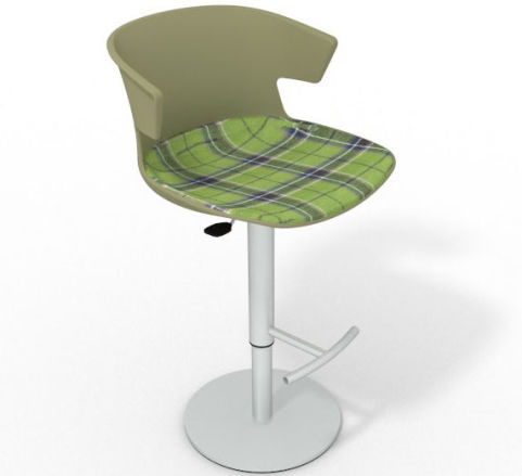 Latium Height Adjustable Swivel Bar Stool - Large Feature Seat Pad Green Green