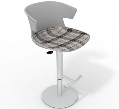 Latium Height Adjustable Swivel Bar Stool - Large Feature Seat Pad Grey Brown