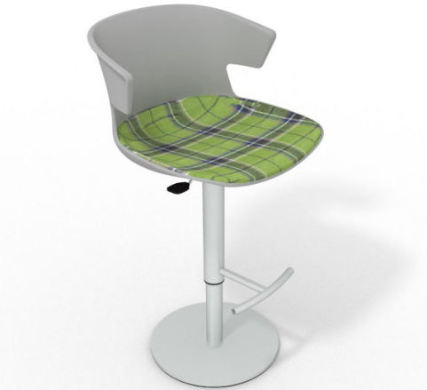 Latium Height Adjustable Swivel Bar Stool - Large Feature Seat Pad Grey Green