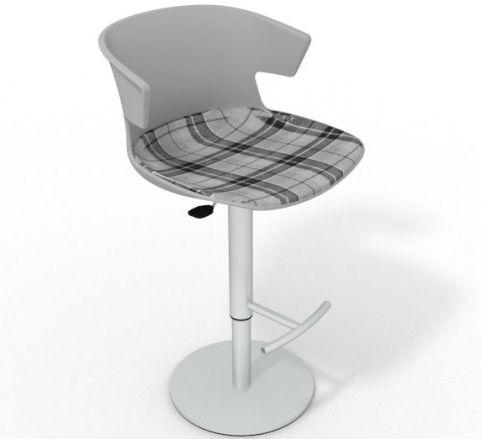 Latium Height Adjustable Swivel Bar Stool - Large Feature Seat Pad Grey Grey