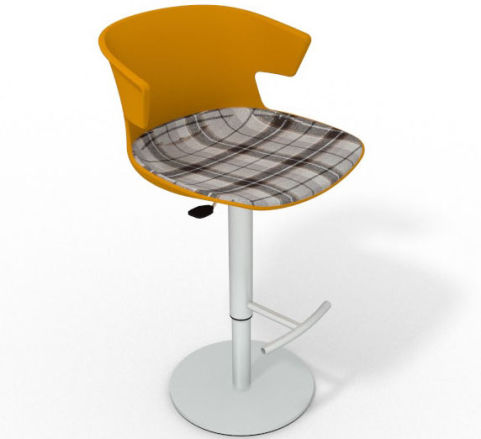 Latium Height Adjustable Swivel Bar Stool - Large Feature Seat Pad Ochre Brown