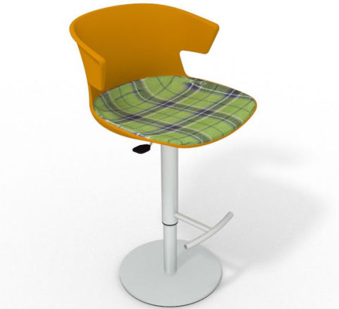 Latium Height Adjustable Swivel Bar Stool - Large Feature Seat Pad Ochre Green