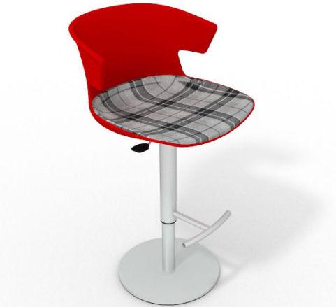 Latium Height Adjustable Swivel Bar Stool - Large Feature Seat Pad Red Grey