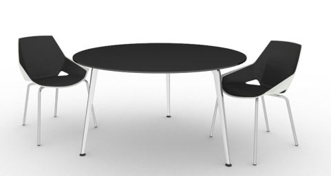 Large Round Meeting Table With Glass Top Elica Office Reality - Large round meeting table