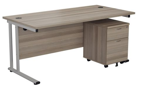 Flite Desk And Pedestal In Grey Oak Angle View